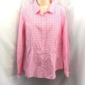 J. Crew Pink Gingham Long Sleeve Button Up